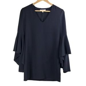 Wayf Black Flutter Sleeve Mini Cocktail Dress xs